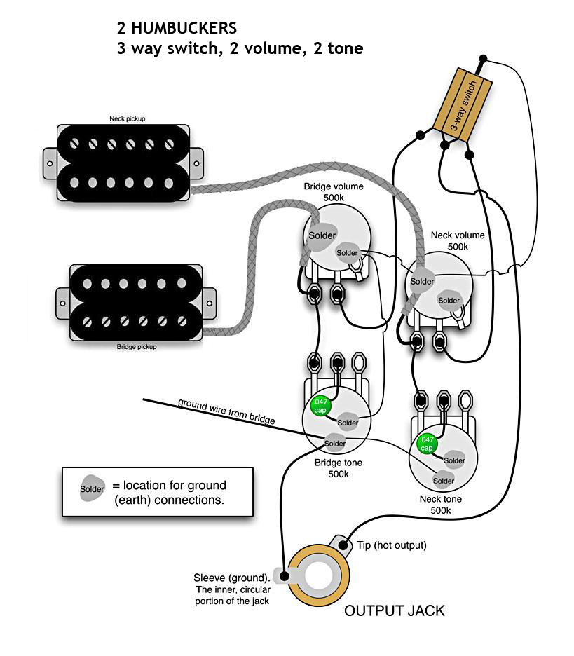 Diagram  1 Volume 1 Tone 2 Humbucking 3 Way Switch Emg