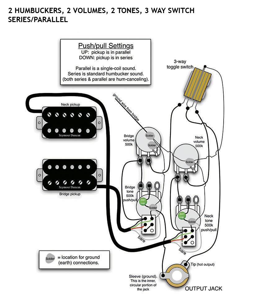 3 conductor pickup wiring diagram images paul style 2 humbuckers 3 way switch 2 volumes 2 tone 4 wire